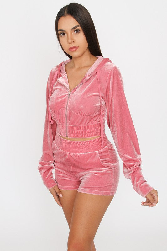 The Velour Short Set - Pink