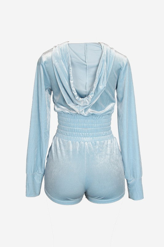 The Velour Short Set - Baby Blue