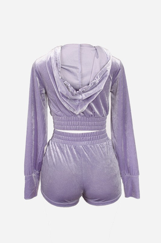 The Velour Short Set - Lavender