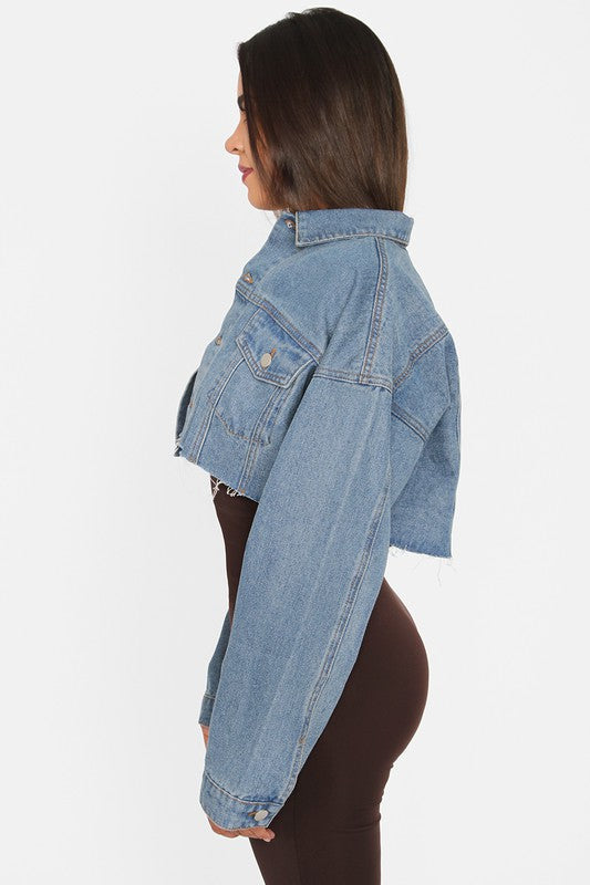 The Vintage Crop Denim Jacket - Blue