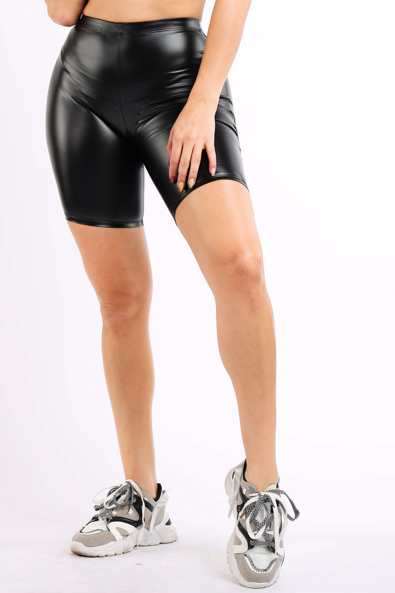 The Satin PU Biker Short