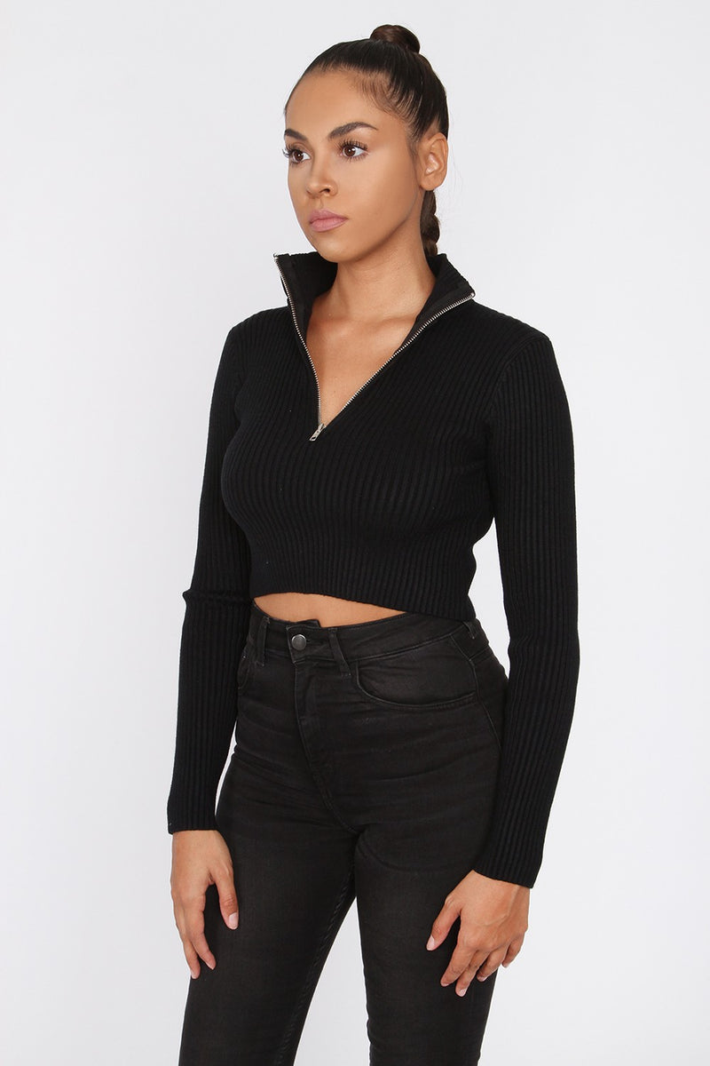 The Half Zip Crop Sweater - Black