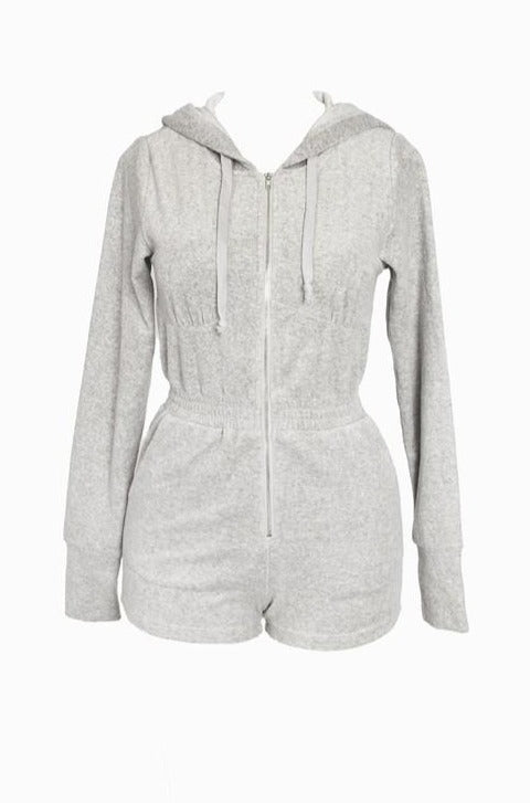 The Alexa Hooded Terry Romper - Grey