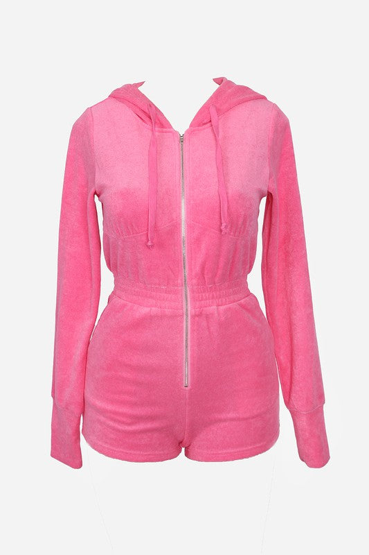 The Alexa Hooded Terry Romper - Hot Pink