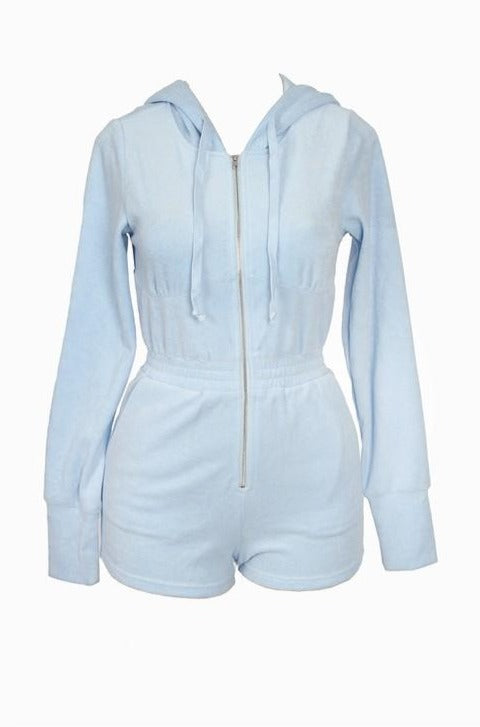 The Alexa Hooded Terry Romper - Baby Blue