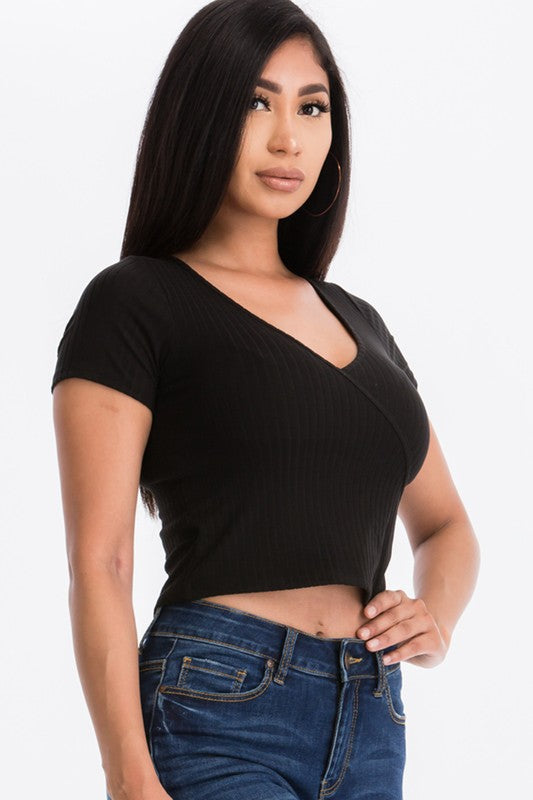 The Surplice Ribbed Crop Top - Black