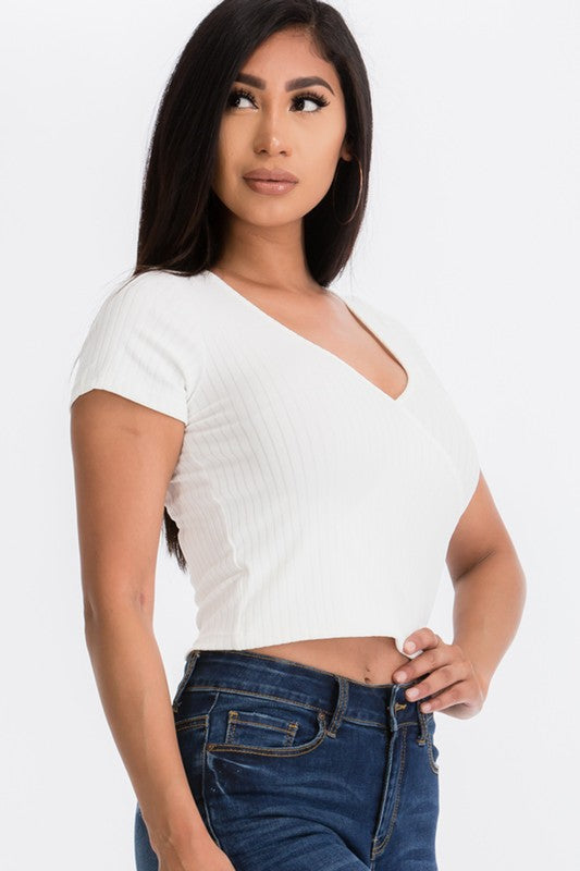 The Surplice Ribbed Crop Top - White
