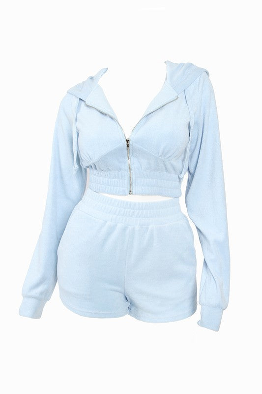 The Terry Track Short Set - Baby Blue