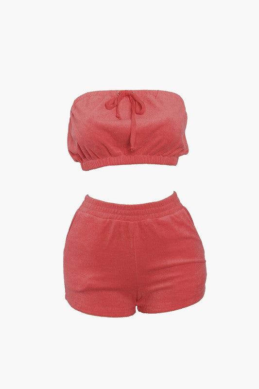 The Terry Tube Two Piece Set - Red