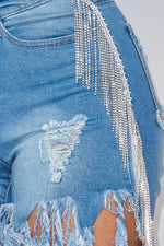 The Rhinestone Stretch Denim Bermuda Short