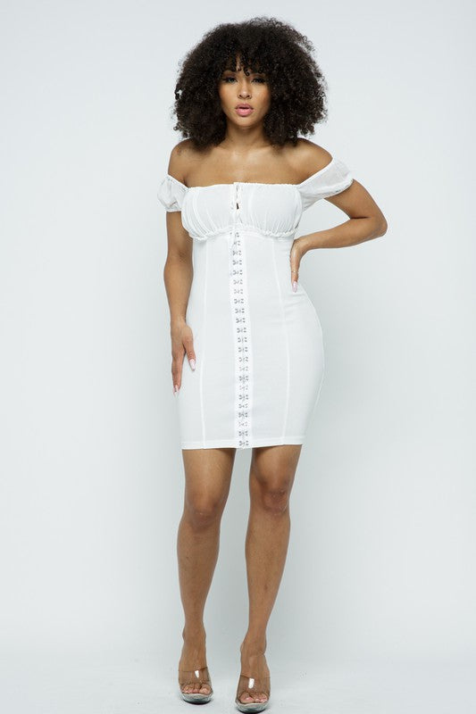 The Bianca Off Shoulder Dress - White