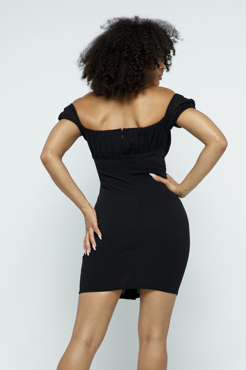 The Bianca Off Shoulder Dress - Black