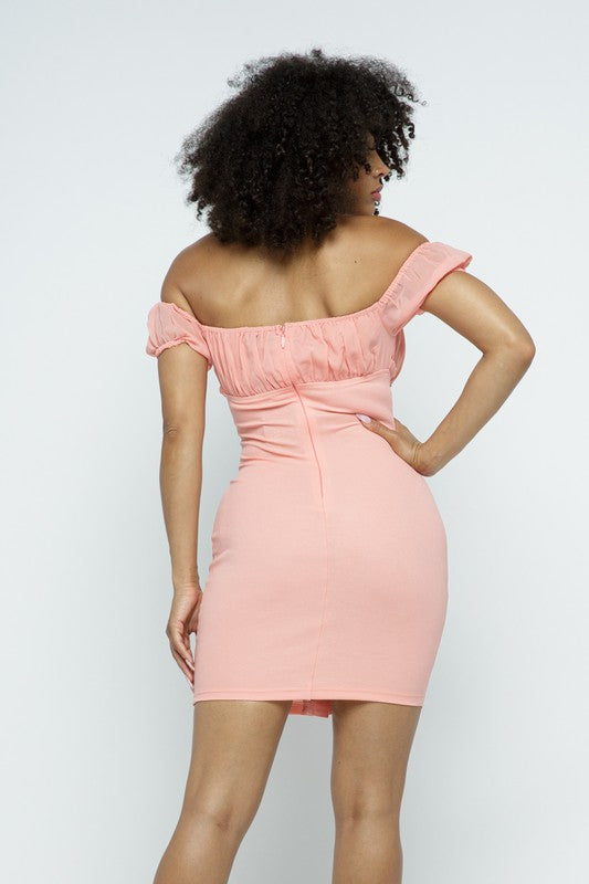 The Bianca Off Shoulder Dress - Pink