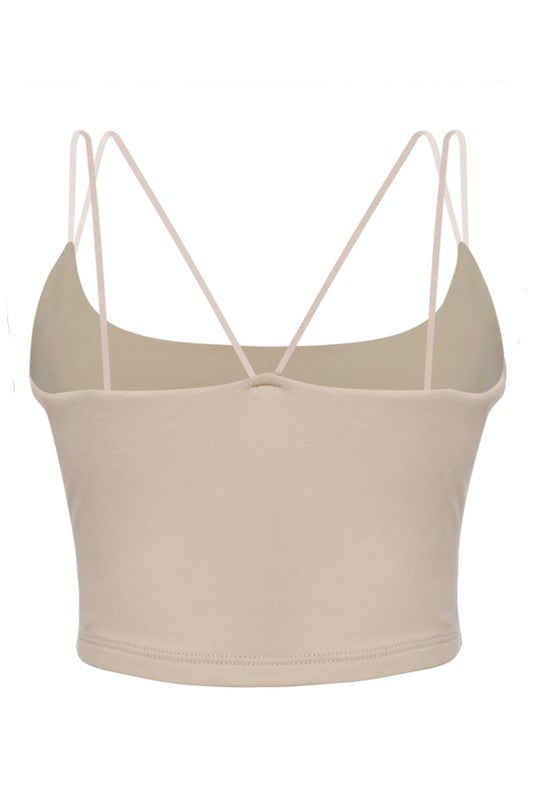 The Criss Cross Back Crop Cami - Taupe