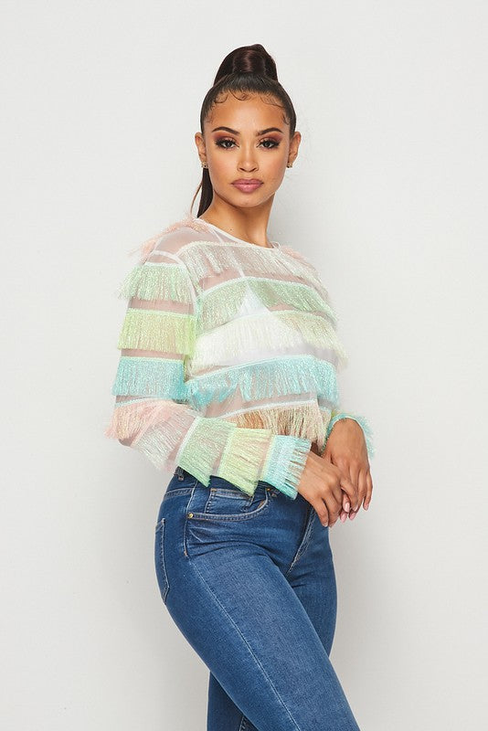 The Runway Sheer Fringe Top