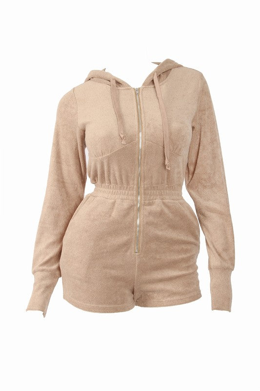 The Alexa Hooded Terry Romper - Taupe