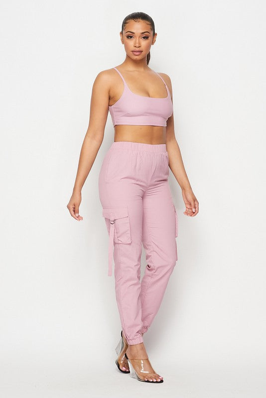 The Over The Top Cargo Jogger Set - Pink