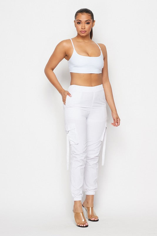 The Over The Top Cargo Jogger Set - White