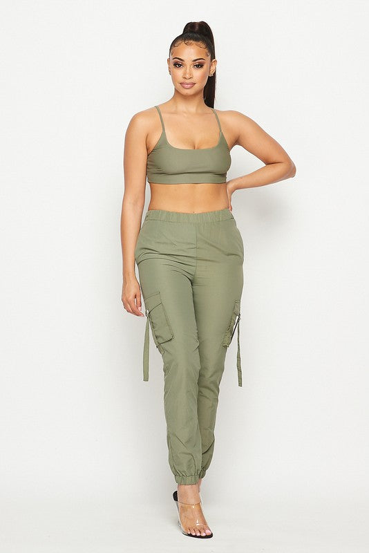 The Over The Top Cargo Jogger Set - Olive