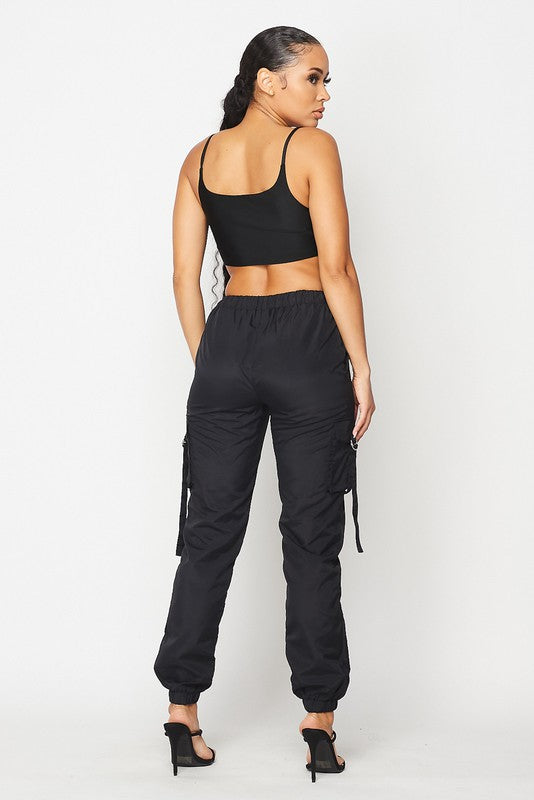 The Over The Top Cargo Jogger Set - Black