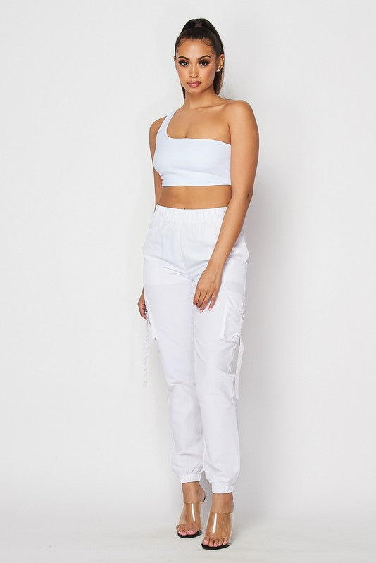 The Go Figure Crop Top Jogger Pant Set - White