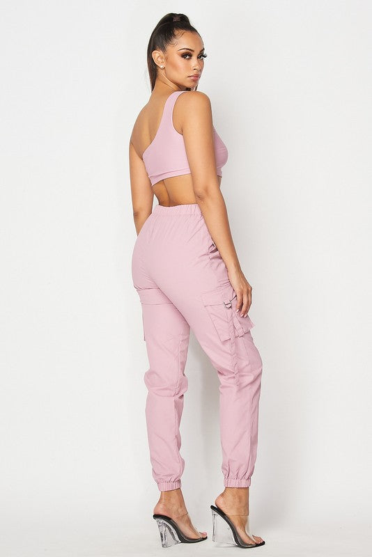 The Go Figure Crop Top Jogger Pant Set - Pink