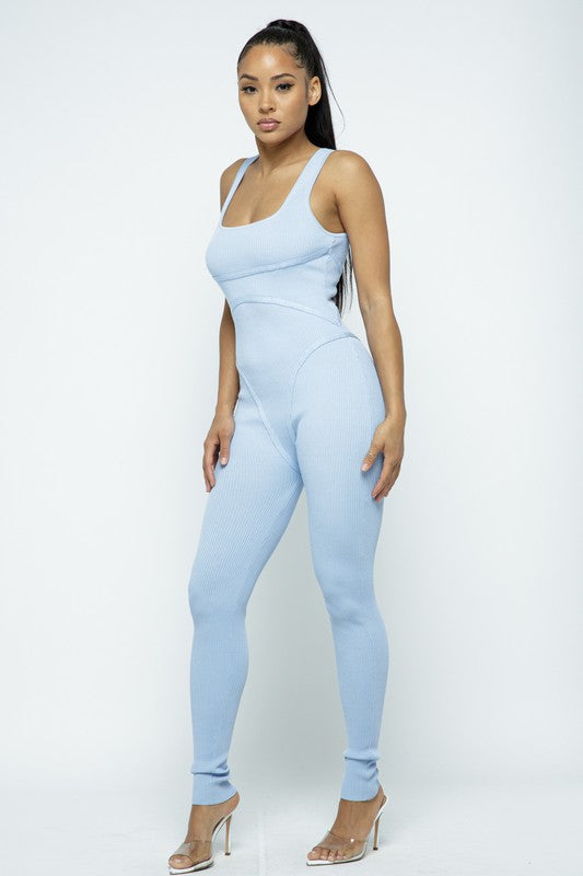 The Contour Jumpsuit - Light Blue