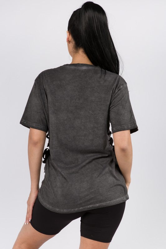 The Side Lace Up Graphic Tee
