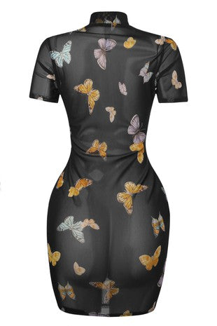 The Butterfly Print Mesh Mini