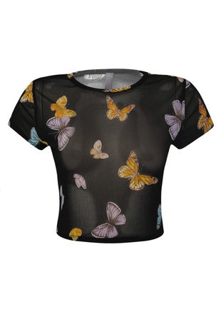 The Butterfly Print Mesh Crop Top