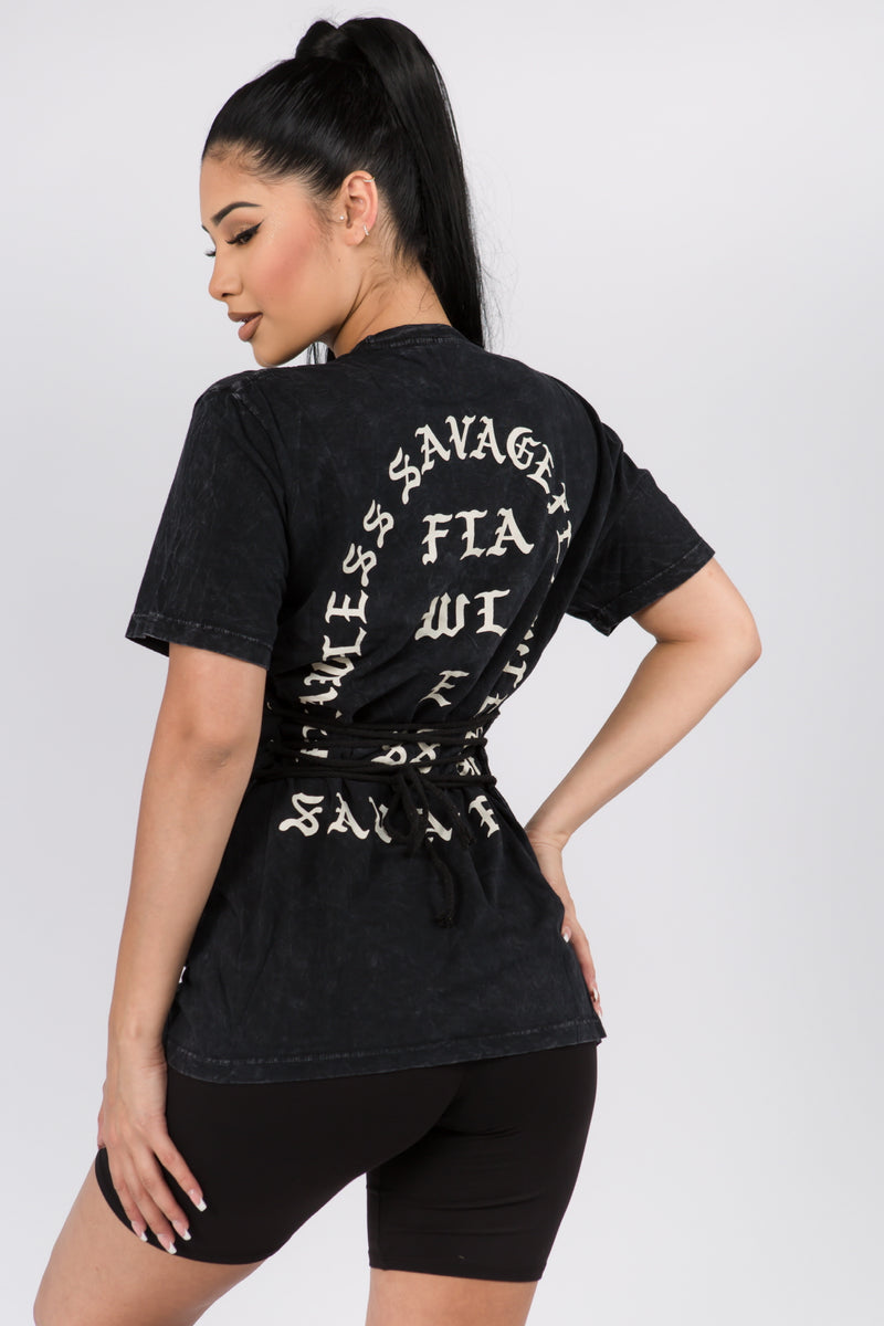 The Savage Lace Up Back Tee