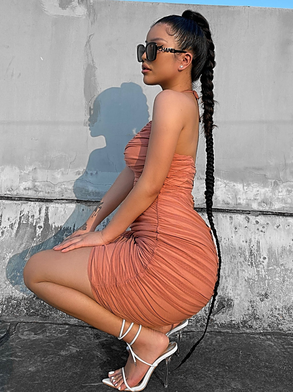 The Double Layered Ruched Dress