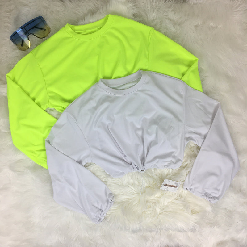 Cropped Drawstring Pullover Top