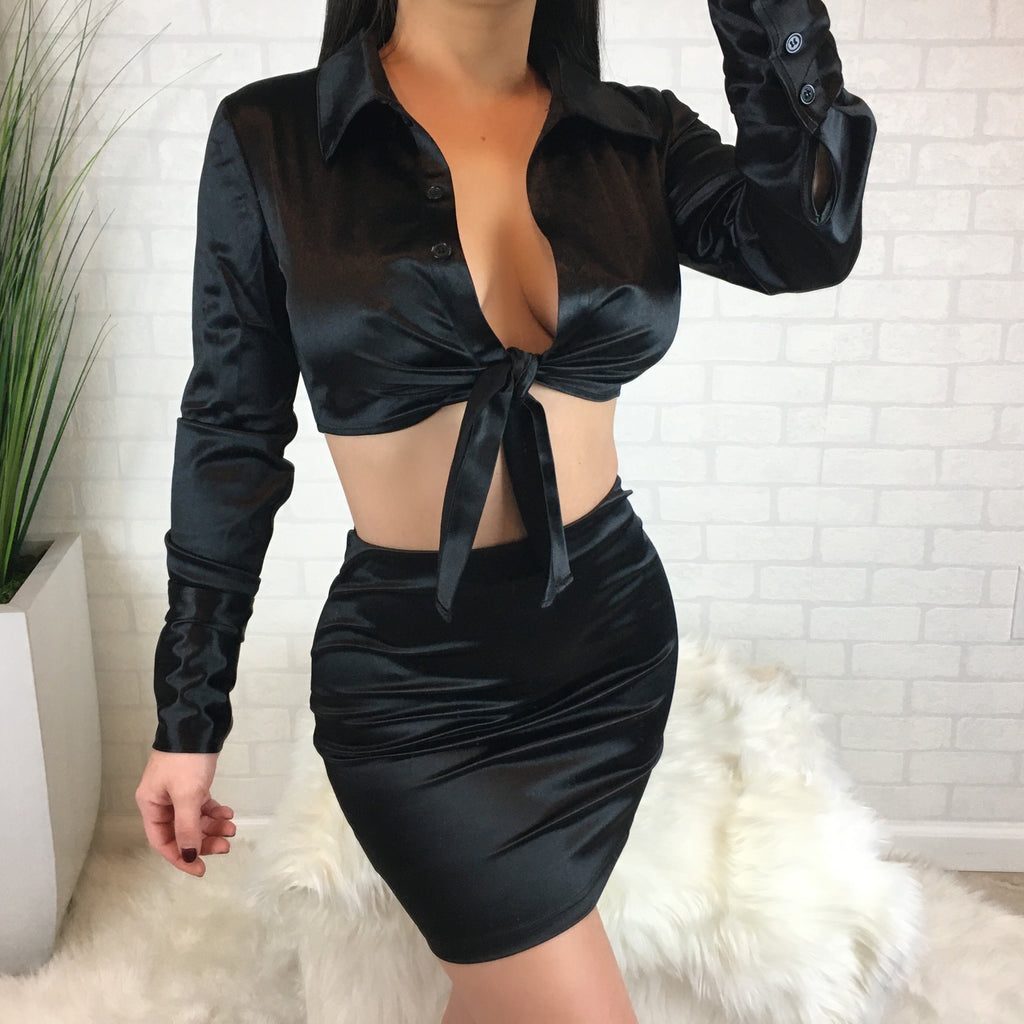 Long Sleeve Satin Skirt Set - Black
