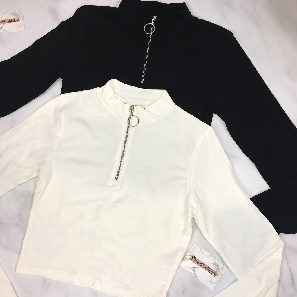 Set Of Two Long Sleeve Zip Up Crop Tops - Black & White