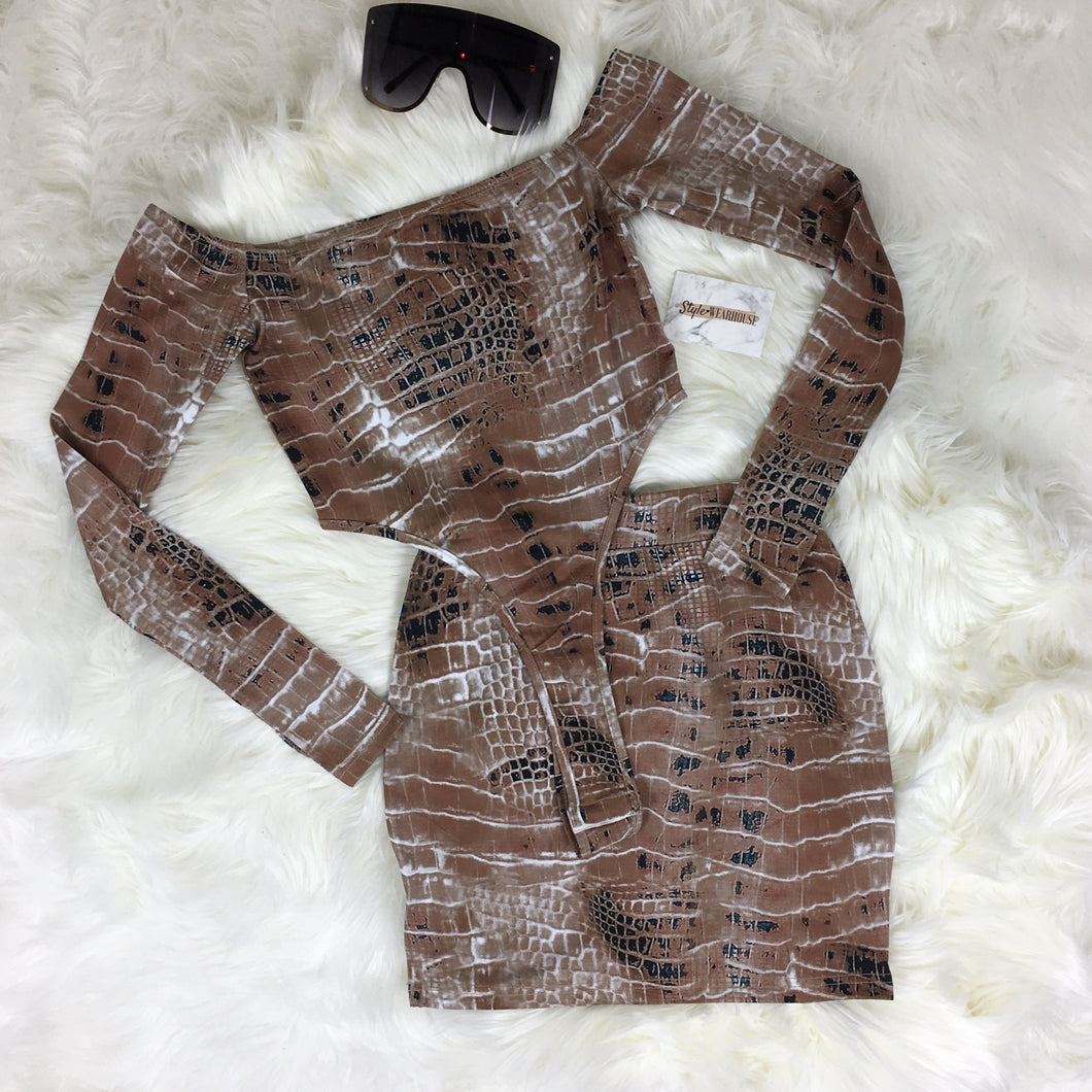 Snake Print Strapless High Cut Bodysuit & Skirt Set