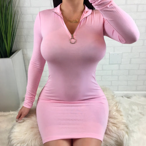 Zipper Detail Mock Neck Long Sleeve Mini Dress - Pink
