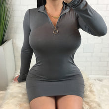 Zipper Detail Mock Neck Long Sleeve Mini Dress - Dark Grey