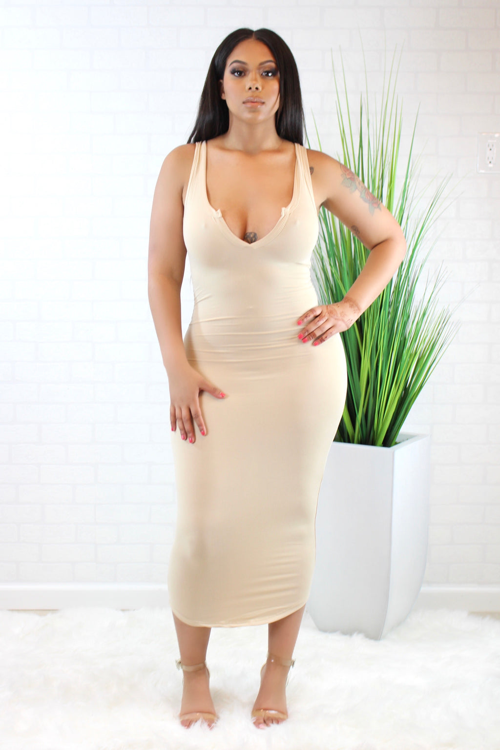 The Split Neck Tank Dress - Nude