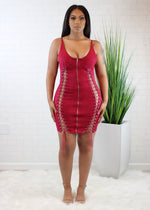 Suede Lace Up Dress - Burgundy