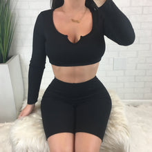 Ribbed Long Sleeve Biker Short Set - Black