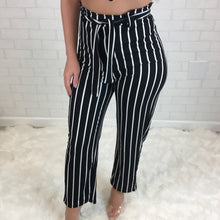 Striped Crop Top & High Rise Pant Set - Black
