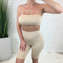 Tube Top & Biker Short Set - Nude