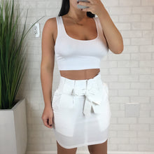 Tie Front Mini Skirt - White