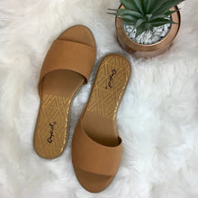 Flat Slip On Sandals - Camel