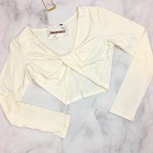 Twisted Front Long Sleeve Crop Top - Ivory