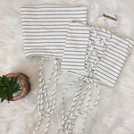 Striped Lace Up Back Crop Top - White
