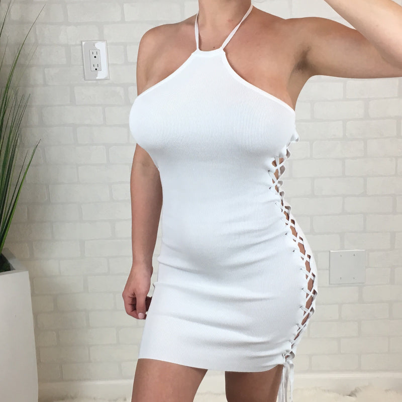 Side Lace Up Mini Dress - White