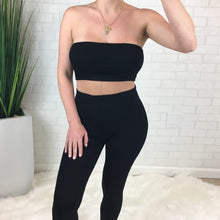 Basic Tube Top & Matching Legging Set - Black