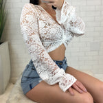 Lace Mesh Twisted Knot Long Sleeve Crop Top - White